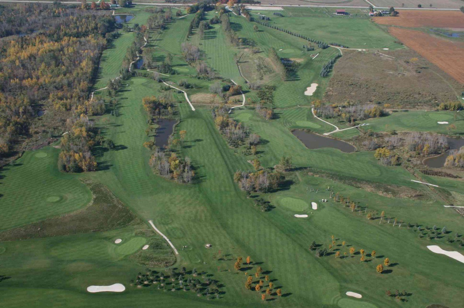 Practice Facilities, Green, Golf, Course, Shelburne Golf, Orangeville, Range, Play, Tee-Off, Tee Box, Red, Blue, Black, Yellow, View, Trees, Greens, Fairway, Aerials, Golf Cart, Path